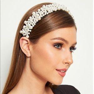 Large faux pearl headband